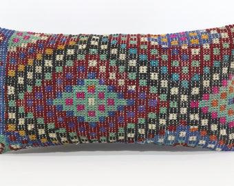 12x24 Naturel Embroidered Kilim Pillow Sofa Pillow 12x24 Lumbar Kİlim Pillow Floor Pillow Ethnic Pillow Home Decor Cushion Cover SP3060-943