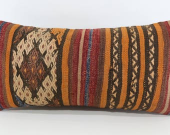 12x24 Anatolian Turkish Kilim Pillow Floor Pillow 12x24Handwoven Embroidered Striped Kilim Pillow Cushions Cover Bedroom Pillow SP3060-1037