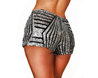 Silver and Black Sequin Lace Rave Shorts/ Booty Shorts/ Rave Sequin Shorts/ Festival Shorts/ EDC Shorts/ Dance Shorts/ Hot Pants/ EDM Shorts
