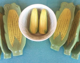 Vintage Corn Bowl Shakers Holders pottery dishes