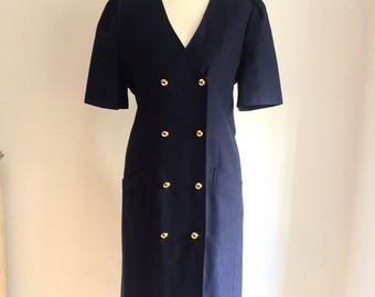 Super cute navy nautical dress with gold buttons