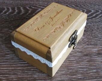 Wedding Ring Box  Ring Bearer Box Personalized box Wedding Ring Holder Rustic Ring Pillow Wooden Ring Box Light Oak Color
