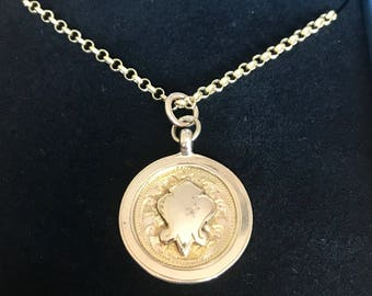 Antique 9ct gold pocket watch fob / pendant and chain - Birmingham 1926