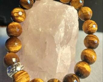 Natural Gemstones of Tiger's Eye. stretch bracelet