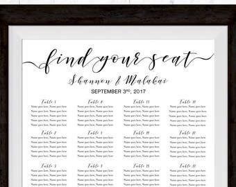 Wedding Seating Chart, Wedding Printable Sign, Wedding Template, Seating Chart,  Wedding Sign Template, Custom Seating Chart