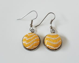 Earrings - Pavo - Etini Sunshine - Wrap Scrap - Babywearing - Dangle Earrings - Stainless Steel - Yellow and White