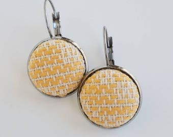 Wrap Scrap Jewelry - Earrings - Apple Blossom Wovens - Heirloom Daffodil - Wrap Scrap - Babywearing - Stainless Steel - Yellow