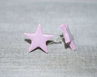 Star Stud Earrings ceramic 1.4 cm