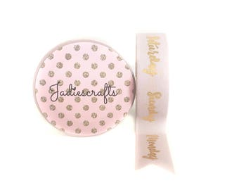 Light Pink & Gold Days of the week Washi Tape