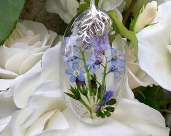 Forget me not pendant,forget me not necklace,flower necklace