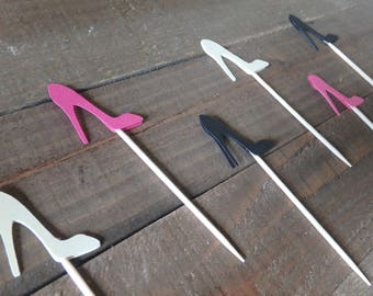 12 High Heel Cupcake Toppers, Wedding Shoe Toppers, Bridal Shower Toppers, Princess Cupcake Toppers, Princess Shoe Toppers, Girls Party