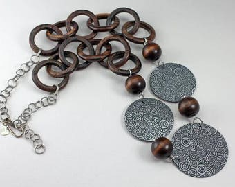 Etched Aluminum and carved wooden circles necklace