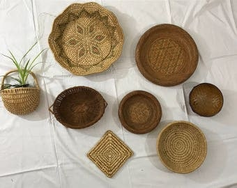 Wall Basket Set. Boho Woven Wall Hangings Decor. Set of 8. Free Shipping