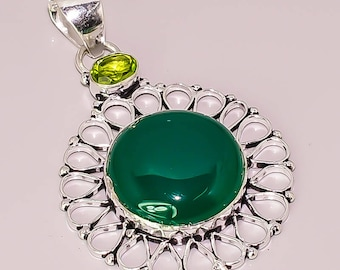 E2 Green Onyx Citrine Quartz Beautiful Handmade Design .925 Sterling Silver Plated Jewelry Pendant