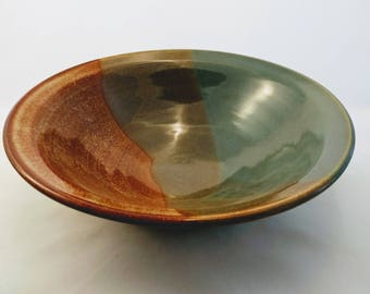 Salad or Pasta Serving Bowl Turquoise and Albany Brown