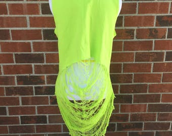 Neon green tank, shredded shirt, shredded womens tank, spider web