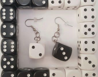 Black and White Dice Earring pair - Board Game Jewelry, Dice Jewelry, Board Game Earrings, Geeky gifts, Nerdy, Board Game Geek