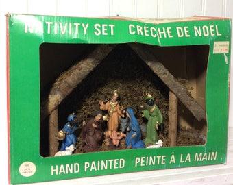 Vintage Medium Sized Nativity Creche in Original Box