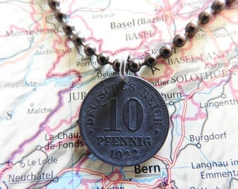 Germany 1920/1921/1922 coin necklace - made of original 10 pfennig from Germany - birth year - birthday present - wedding gift