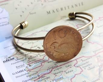 Gambia coin cuff bracelet - made of original coins - Africa - bird - wanderlust gift - travel