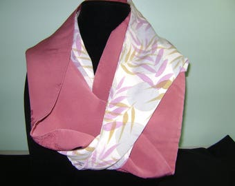 Patchwork Boro Silk Infinity Fall Scarf with Light and Dark Mauve Florals, Grasses Patterns