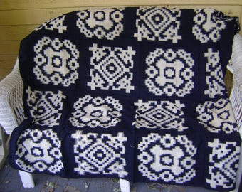 Vintage Large Cotton Furoshiki Fabric with Boro Patches/16 White Blocks on Indigo Background, Wall Hangings, Craft Supplies