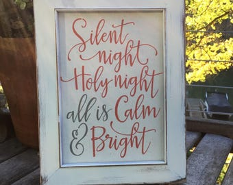 Silent night Holy night all is Calm & Bright,Framed Canvas Print,Christmas Decor,Farmhouse Christmas,Holiday Mantle art,shabby chic holiday