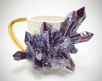MADE-TO-ORDER: Aura Amethyst, Matte White and Gold Handled Mug
