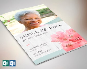 Magnolia Funeral Program Publisher Word Template