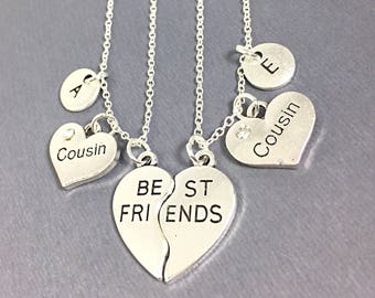 Gift Necklace for Cousin, Cousin necklace jewelry,set of 2, best friend necklaces for 2, friendship jewelry, distance friends, bff necklace