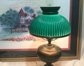 Tall Antique Amber Green lamp 1950's Vintage Lamp Electric  Table lamp Home Decor Christmas Decor