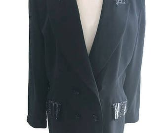 Black Tie Oleg Cassini  Formal Beaded Jacket fit Large
