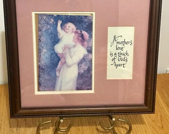 Beautiful Vintage Wooden  Framed Picture with a Quote  A Mother's Love is a Touch of God's Heart Victorian Picture