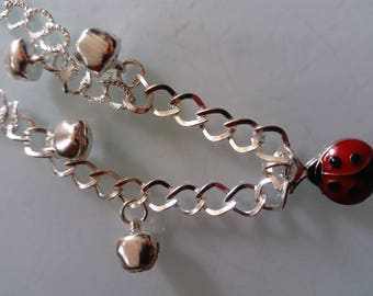 Bracelet silver lady bug nature