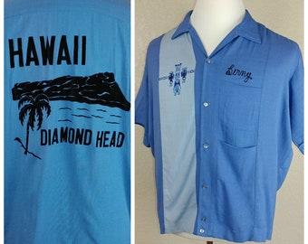 Incredible One of a Kind Vintage Rayon Nat Nast Bowling Tiki Hawaiian Shirt with Felted Diamond Head Design