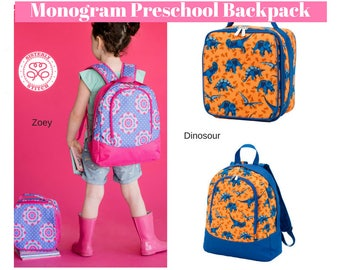 Monogram Preschool Backpack Set And Lunch Box Kindergarten Back Pack