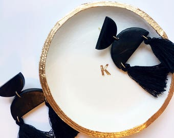 GIFT SET // Minimalist Monogram Jewelry Dish and Earrings- Ring Dish, Trinket Dish, Statement Earrings, Polymer Clay Dangly Tassel Earring