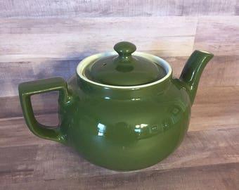Vintage Hall China Green Teapot / Boston Style / 6 Cup Teapot