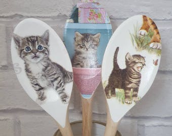 Set Of 3 Cat Decorative Wooden Spoons   Kitchen Decor