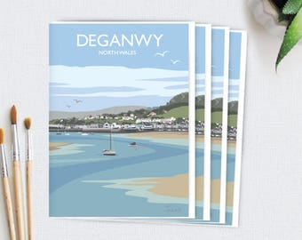 Pack of 4 Greetings Cards (Deganwy, North Wales) PLUS FREE SHIPPING!