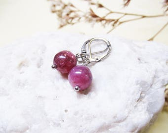 Ruby Earrings Ruby Jewelry Gemstone Earrings Charm Earrings Ruby Charm Dangle Earrings Healing Crystal Spiritual Jewelry Ruby Bead Earrings