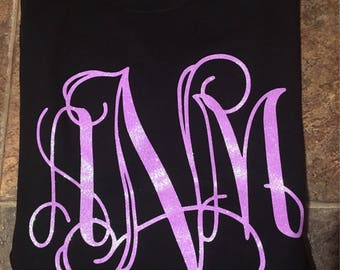Large glitter monogram shirt