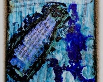 "Giclee print, canvas, mixed media, Hebrew, Bible, ""Daughter"" , bottle, tears, art, decor, wall"