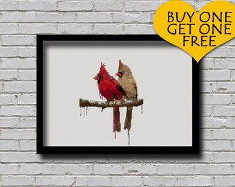 Cross Stitch Pattern Cardinal Couple Watercolour Effect Bird Animal Inspired Embroidery Modern Decor  Male Female Cardinal E Pattern