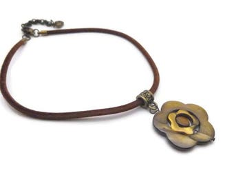 Flowers and velvet cord necklace