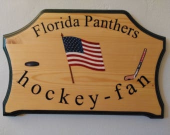 Florida Panthers Hockey Fan Wood Plaque - Home Decor Hockey fan