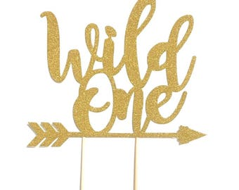 1 pc WILD ONE ARROW script bohemian boho tribal native Theme Gold Glitter Cake Topper for Birthday Baby shower