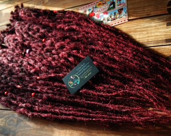 Full set of burgundy long crochet synthetic double ended DE dreads natural dreadlocks full head red hair extensions