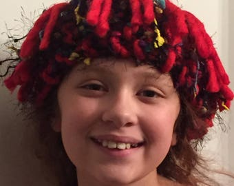 Super Fun and Chunky Soft Headband for Kids, in Red + Multicolor Yarns!