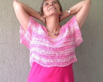 summer sweater, pink Summer Sweater, oversized top, loose knit,